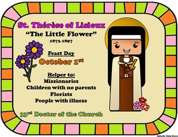 October Feast Day Catholic Saint Poster Saint Therese of Lisieux