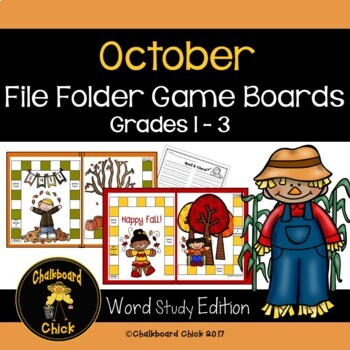 October File Folder Game Boards Word Study Edition