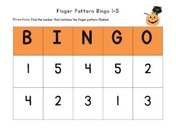 October Finger Pattern Bingo (Differentiated 1-5, 6-10, & 1-10)