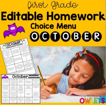 October First Grade Homework Choice Menus