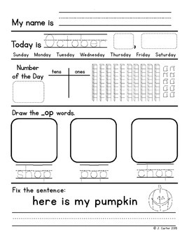 October First Grade Morning Work