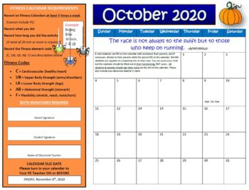 October Fitness Calendar 2018 By Physical Education Fun Tpt