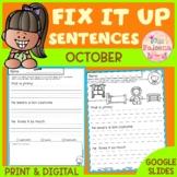 October Fix it Up Sentences | Print & Digital | Google Slides
