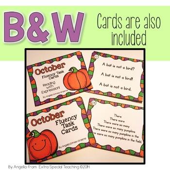 October Fluency Practice Task Cards