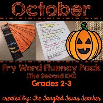 October Fry Word (2nd Hundred) Fluency Strips