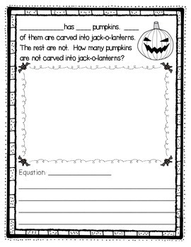 October Fun - Halloween Themed Math Story Problems