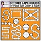 October Game Boards 36 Piece Set Clip Art Color and Black & White