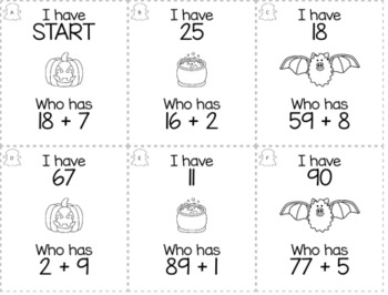 """October Halloween 1st Grade """"I Have, Who Has"""" Math Game Bundle"""