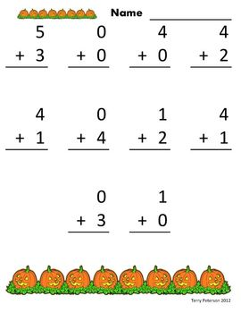 October Halloween Addition & Subtraction Facts Worksheets or Use with Projector