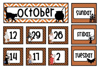 October Halloween Calendar Cards and Days of the Week