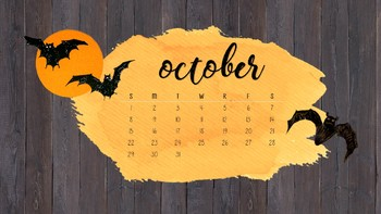 October Halloween Computer Background Calendar