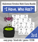 "October Halloween Day 3rd  Grade ""I Have, Who Has"" Math Game Bundle"