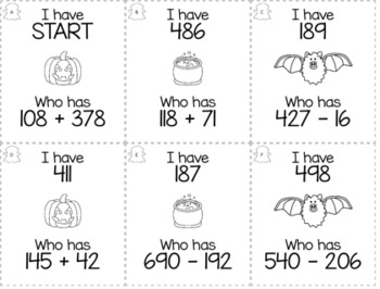 """October Halloween Day 3rd  Grade """"I Have, Who Has"""" Math Game Bundle"""