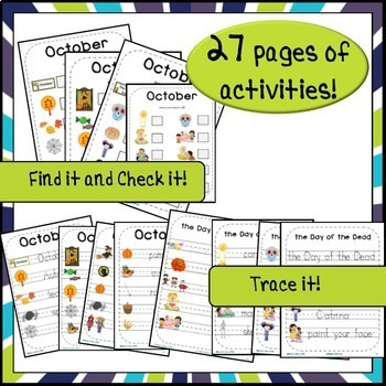 October Halloween & Day of the Dead Word Wall & Activities English Version!