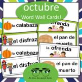 Spanish October Word Wall Halloween & Dia de los Muertos
