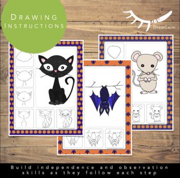 Halloween Art Activities (October Directed Drawings)