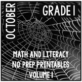 October Halloween First Grade Math and Literacy NO PREP Common Core Aligned