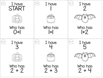 "October Halloween Kindergarten ""I Have, Who Has"" Math Game Bundle"