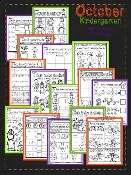 October Halloween Kindergarten Math and Literacy NO PREP Common Core Aligned
