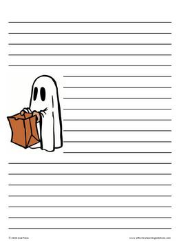 October Halloween Lined Writing Paper