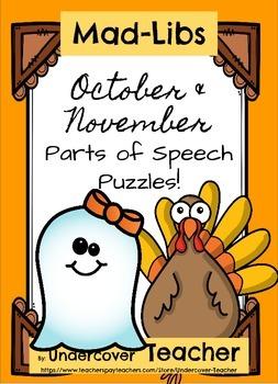 October Halloween November Thanksgiving Mad-Libs Stories P