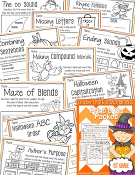 October (Halloween) PRINT and GO Packet [1st Grade]
