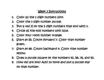 Halloween Pumpkin 100 Chart Math Station K.CC.1 Week 3 & 4