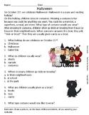 October Halloween Reading Comprehension Worksheets Rhyming Words