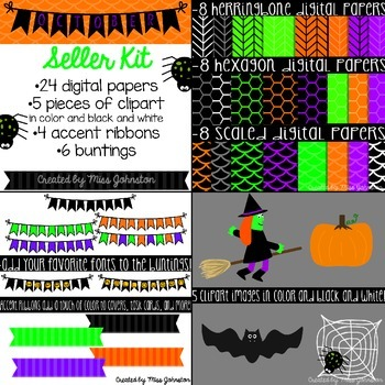 October (Halloween) Seller Kit {Clipart, Papers, Buntings, Ribbons}