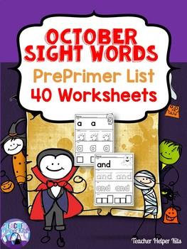 October Halloween Sight Words PrePrimer