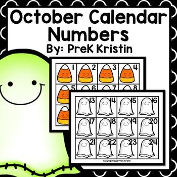 October (Halloween Themed) Calendar Numbers