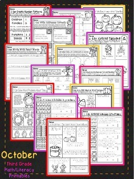 October Halloween Third Grade Math and Literacy NO PREP Common Core Aligned
