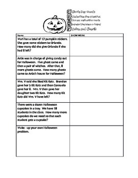 October Halloween Word Problems Add Subtract Multi-Step