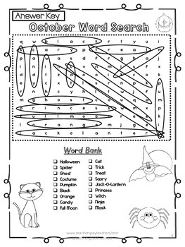 October Halloween Word Search 2 Levels