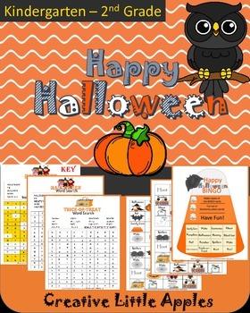 October {Halloween} Word Search & Bingo Fun! Great for Kinder-4th :)