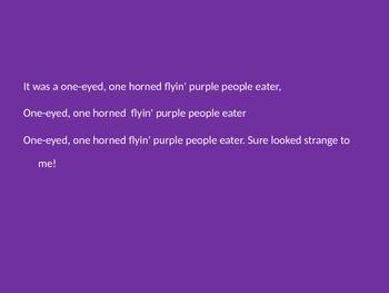 October Halloween song Purple People Eater Powerpoint