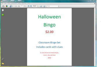 October Holiday BINGO