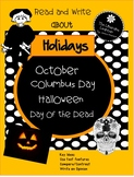 October Holidays Halloween and others Close Reading for 2nd and 3rd Grades