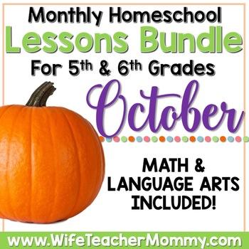 April Homeschool Lessons for 5th and 6th Grade Math /& Language Arts Mini Bundle