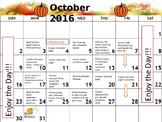 October Homework Calendar