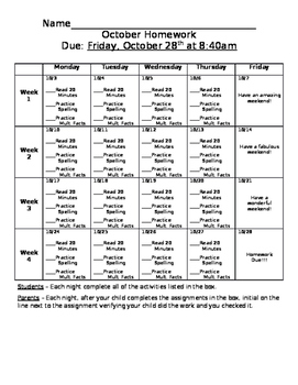 October Homework Calendar (Editable)