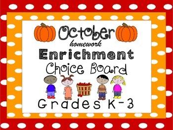 October Homework Enrichment Choice Board