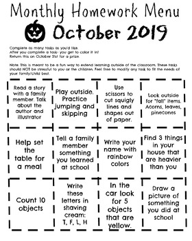 October Homework Menu