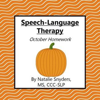 October Homework Packet for Speech-Language Therapy