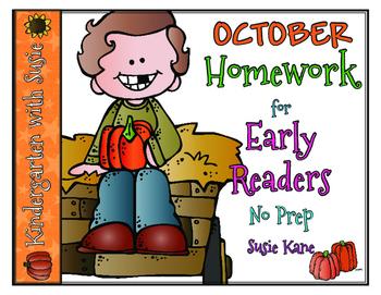 October Homework for Emergent Readers