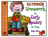 October Homework for Emergent Readers