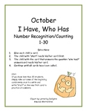 October I Have Who Has:  1-30 Counting and Number Recognition