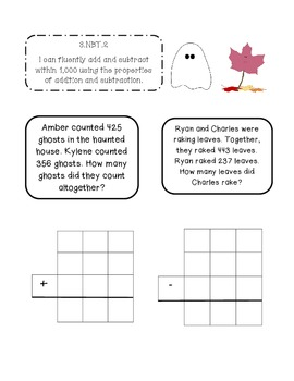 3rd Grade October Interactive Math Journal (Common Core Aligned)