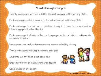 October Interactive Morning Messages for 2nd Grade