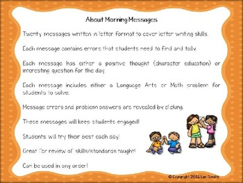 October Interactive Morning Messages for 2nd Grade Freebie